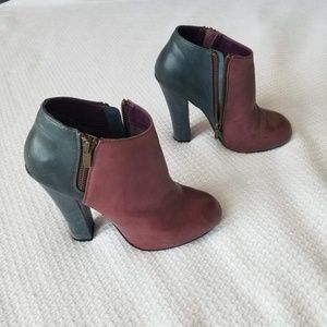 Leather Purple and Blue High Heeled Booties
